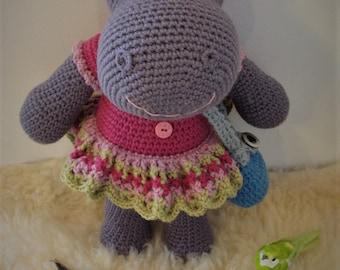 The Cute Hippo Girl, amigurumi hippo, crocheted hippo, handicrafts