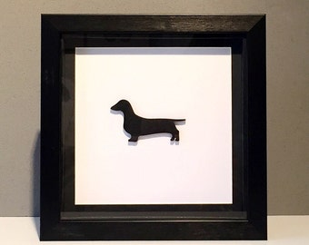 Wooden Dachshund Silhouette Picture, Wall Art, Dachshund Picture, 3D Picture, Box Frame, Birthday Gift, Mothers Day Gift, Dachshund Dog