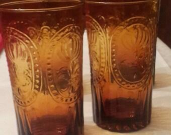 Amber Pressed Glass Tumblers Heavy Vintage glassware SET OF 4