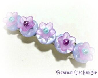 Lilac Flower Girl Hair Clip