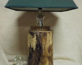 Spalted Ash rustic log lamp