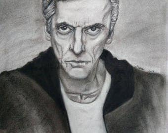 drawing, portrait, Dr. who, 12th doctor, PeterCapaldi.