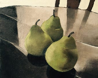 PEARS still life 6X6  original oil painting, fruit art