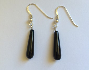 Very Elegant Black Agate Tear Drop Sterling Silver Earrings.