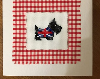 Handmade greeting card with cross stitched scottie dog detail. Blank inside for your own message.