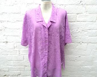 Lilac floral shirt, women's plus size summer fashion