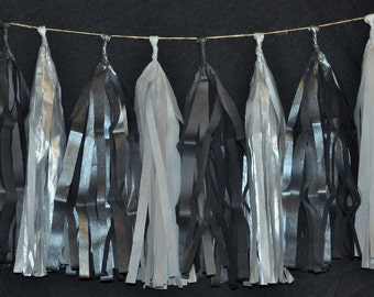 Gunmetal and Silver Tassel Garland | Dark Decor | Macabre Decorations | Wedding Decor | Diesel Punk Decorations