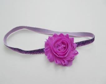 Baby headband || elastic headband || baby girl || purple sparkles || baby shower