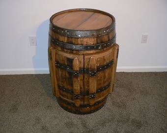 Whiskey Barrel Cabinet with Lazy Susan