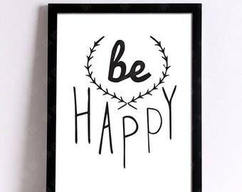 Be Happy 21 x 30 cm wall decorative canvas poster poster black Bohemian Word boho