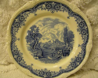 Vintage blue and cream plate - A Lock on the Stour After Constable