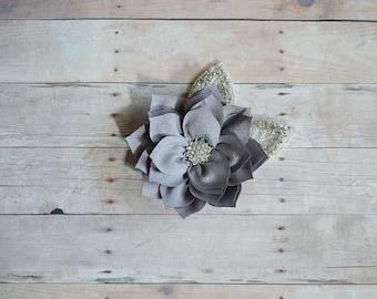 Silver Grey Flower Hairclip Flower Girl Hairclip, Wedding Clip, Bridal Hairclip, Rhinestone, Fascinator Bridesmaid Bridal Shower Baby