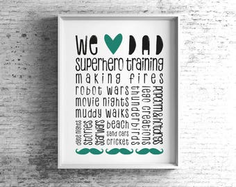 Personalised We Heart Dad Framed Print, Custom Father's Day Print, A4/A3, Father's Day Gift, Print for Dad, We Love Dad, Daddy, Gift for Dad