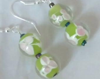 Murano Style lime Green Glass Bead Earrings
