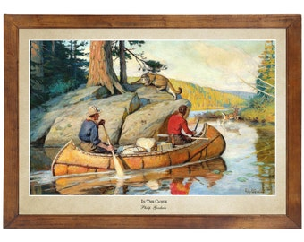 In The Canoe, Philip Goodwin; 24x36 inch print reproduced from a vintage painting