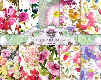 Summery Floral Scrapbook Digital Printable Floral Patterns Background  Flowers Watercolor Digital  Watercolor Floral Patterns Download F-156