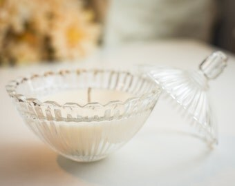 Gardenia Soy Candle in Vintage Glass Candy Dish