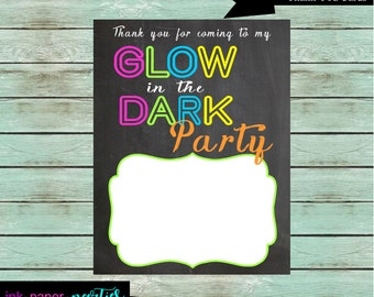 Printable Glow in the Dark Neon Retro 80's Birthday Thank You Note Cards - DIY - Digital File - Instant Download