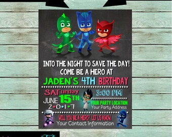 Pj Masks Gekko Catboy Owlette Birthday Party Chalkboard Invitations Invites ~ We Print and Mail to You