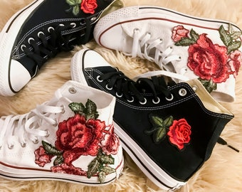 Rose Embroidered High Top Converse All-stars Floral Shoes -- SALE Coupon Code Inside