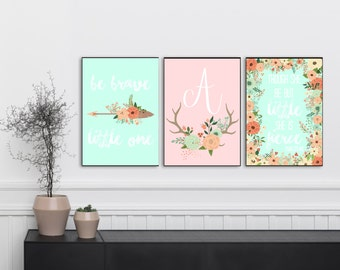 Pastel Nursery, Mint and Coral Nursery, Coral and Mint Nursery Decor, Coral Nursery Decor, Nursery Printables, Boho Nursery Decor
