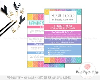 Thank You Cards, Herringbone | Custom Printable Card | Care Card, Care Instructions, Return Policy