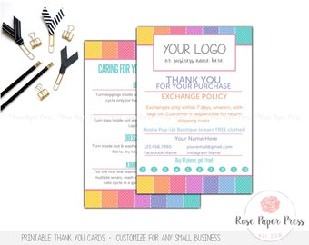 Thank You Cards, Polka Dots | Custom Printable Card | Care Card, Care Instructions, Return Policy, Punch Card