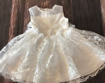 Couture Scalloped Lace Baby Girl Baptism Dress / Flower Girl Dress / Baptism Dress /  Christening Dress / Flower Girl / First Birthday