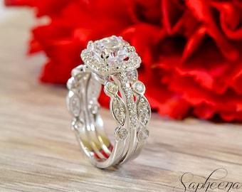 Set of 3, Cushion Cut Ring with Art Deco bands 14 Karat White Gold, Made to Order, Stacking Rings, Engagement Set, Wedding Rings by Sapheena
