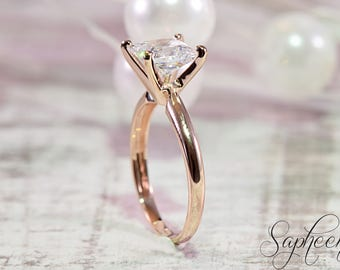 Rose Gold - 2 carat Princess Cut Solitaire  Ring in 14 Karat Rose Gold, The Classic, Engagement, Wedding Ring, Solitaire Ring by Sapheena