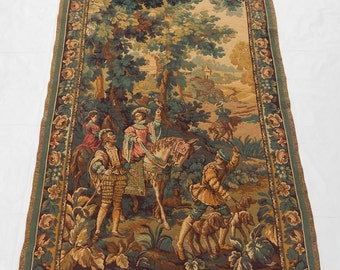 Large Vintage French Beautiful Hunting Tapestry 189X122cm (188)