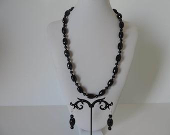 Demi parure Italian 925 Silver Black Onyx.