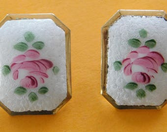 Vintage Octagonal Shape Enamel Rose Clip On Earrings