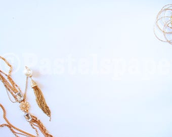 Gold Jewelry Styled  Flat Lay Stock Photo
