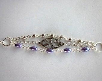 Triple Strand Silver-Plated Bracelet Triple Chain Bracelet Triple Strand Bracelet