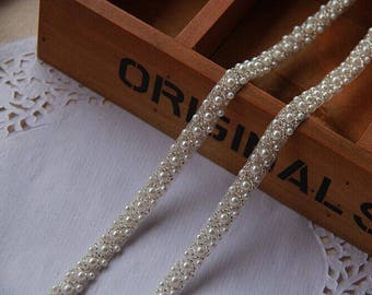 1 CM in Width,pearl beaded trim, bridal sash, beaded jewelry Trim, clear beads trim