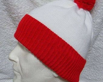 Red and White Wheres Wally/Waldo Inspired pompom beanie hat