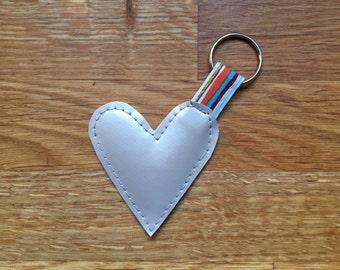 Silver Vinyl Heart Keyring