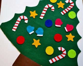 CHRISTMAS TREE FELT - Toddler Christmas Gift, Pretend play, Busy hands activity, Felt Christmas Tree, Felt board, Quiet Board