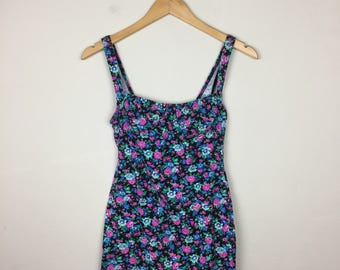 90s Floral Mini Dress Size Small, Bustier Dress
