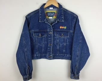 90s PEPE Cropped Denim Jacket Size Medium, Vintage Denim Jacket M, Cropped Jean Jacket