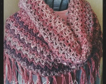 Large Mountain Cowl, Fringed Cowl, Hood Cowl, Alpaca Blend Boho Scarf