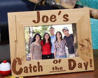 Personalized Catch of the Day Wood Picture Frame Custom Name Gift