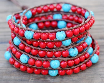 Five wrap bracelet, Multi Wrap Leather Bracelet, Coral bracelet, Red bracelet, Leather wrap bracelet with coral and turquoise