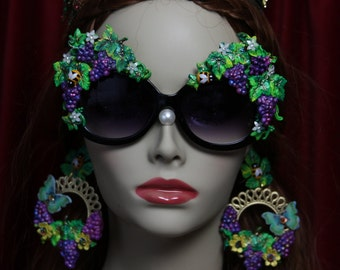 Roman Revival  Hand Painted Grapes Embellished Rococo Shades Sunglasses