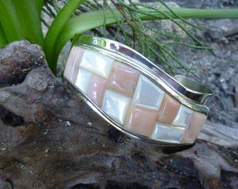 Sterling Silver Rose Quartz & Mother Of Pearl Cuff Bracelet