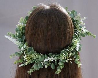 Greenery crown, bridal flower crown, tie-back woodland greenery halo, bohemian wedding greenery headpiece