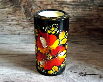 Candle holder wood tea light holder hostess gift red yellow home decor rustic painted flowers art poppy protection home luck centerpiece