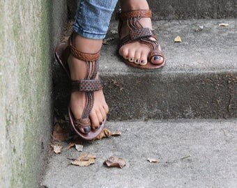 "Sandals ""Sara"" leather braided"