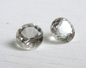 Sillimanite Gemstones - Loose Gemstones - Pair Gemstone - 6mm Round Faceted - Clear Gemstones - Sparkly Gemstones - Jewellery Making